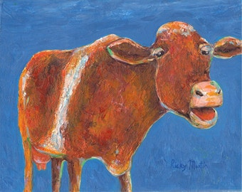 Cow - Contemporary Home, Kitchen  Decor, ready to hang - Original  Fine Art  Acrylic  Painting by ebsq Artist  Ricky Martin FREE SHIPPING