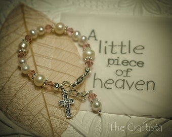 Baptism Bracelet  - Authentic Freshwater Pearls, Crystals and Mini Cross - Christening/Baptism, Dedication