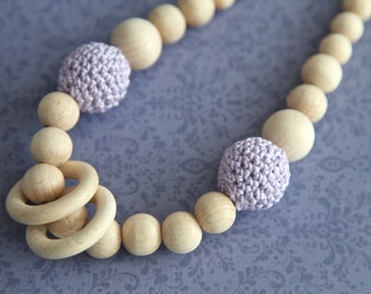 Lavender nursing rings necklace. Girls crochet necklace. Mammy and baby teething necklace.