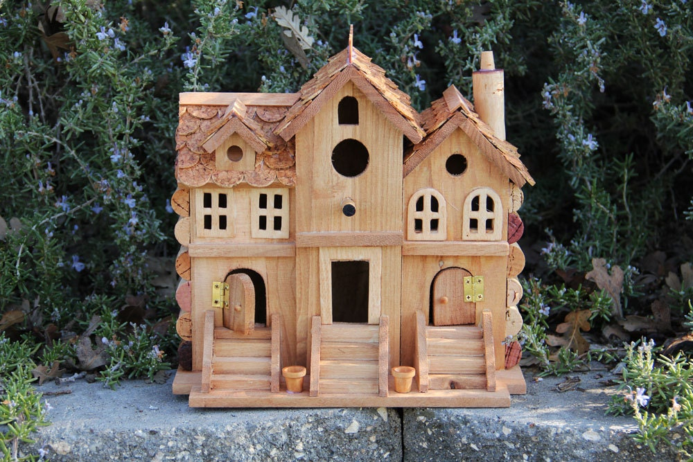 Three townhouses birdhouse wood and wine corks for How to build a birdhouse out of wine corks