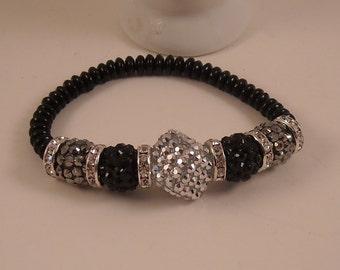 Crystal Bling Rhinestone Spacers Rhinestone Ball Glass Beads Beaded Stretch Bracelet