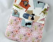 iPad Case with Zipper Pocket, Padded iPad Cover for iPad Air,  iPad 4, iPad 3,  2 and 1 - Cats on Chairs