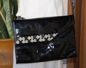 Sale~ Vintage 1980's classic BALLY black patent leather CLUTCH bag purse