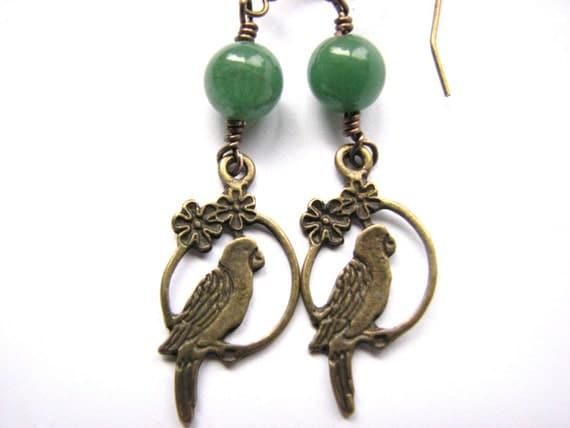 Jade Jewelry - Brass Parrot Earrings with Green Jade Bead Tropical Earrings