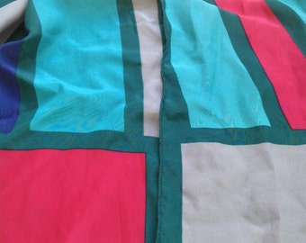 Vintage VERA NEUMANN Scarf with Pink, Green, Grey and Blue Colours