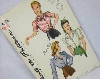 Vintage 40s, 50s Blouse Sewing Pattern, Simplicity, 4356
