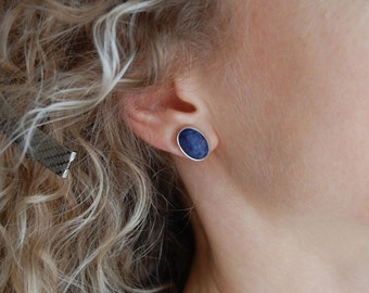 Large Post Earrings Denim Blue Earrings Handmade Silver Earrings Bezel Earrings Natural Stone Earrings Sodolite Earrings