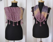hand knitted multicolor purple lilac pink wool mohair shawl stole scarf neckwarmer