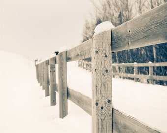 Winter photo, wooden fence in snow, country road, snow scenery, snowing, winter decor, winter photography, shabby chic, rustic decor