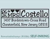 Custom Address Stamp - Mr and Mrs Names with Heart  - Etsy Design (R1086) Self-inking Just Married Wedding Gift