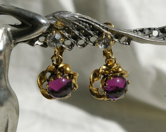 Vintage Amethyst Colored Earrings - Gold Tone with Rhinestones - Clip Style - 1970's