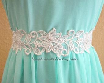 Ivory Flower Lace with Ivory Satin Sash // Bridal Sash , Bridesmaid Sash // SH-03