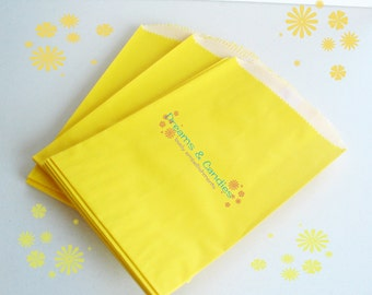 """50- 4 3/4x6 3/4"""" Yellow Gourmet Bags Glassine Lined Paper -Candy Bags -Birthday Paper Bags -Gifts bags -Wedding Favor Bags -Favor Bag"""
