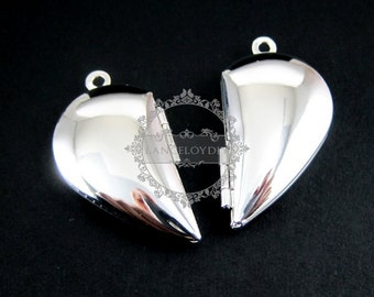 5pairs 29MM silver plated brass lovers' heart locket pendant charm,vintage heart love photo locket 1132008