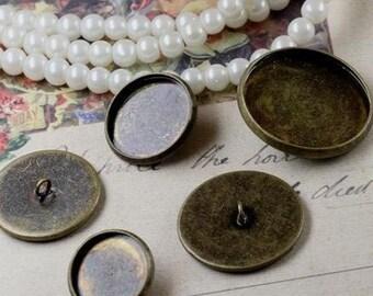 10Pcs 25mm setting bronze round bezels base tray setting brass button supplies