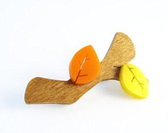 Autumnal Twig Brooch