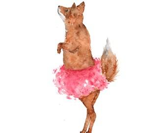 Watercolor animals, watercolor fox, fox print, fox painting, fox art, watercolor painting, ballerina art, watercolor nursery art, 8X10 print