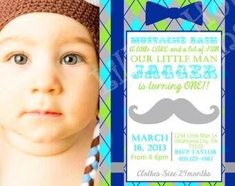 Little Man Mustache Bash Invitation - Mustache Birthday Invitation - PRINTABLE Photo Invitation and Thank You Card - Mustache Bash