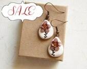 Brown earrings, Cappuccino Coffee flower earrings,  hand made jewelry