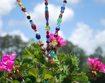 Baby Beaded Blossom  -- Garden Glass Art  --   Glass Flower Sculpture by Pamlico Designs