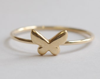 Solid 14K Butterfly Ring