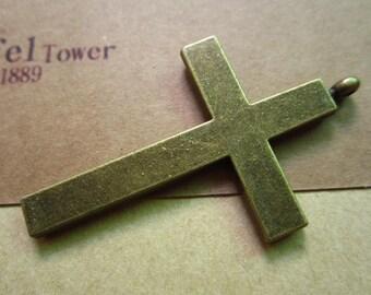 3pcs 55x33mm antique bronze cross charms pendant C3522
