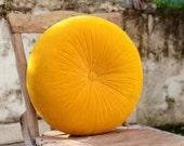 "Sweet yellow velvet round pillow 16"""