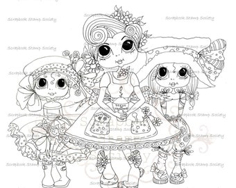 INSTANT DOWNLOAD Digital Digi Stamps Big Eye Big Head Dolls Digi  Mom and Her Girls By Sherri Baldy