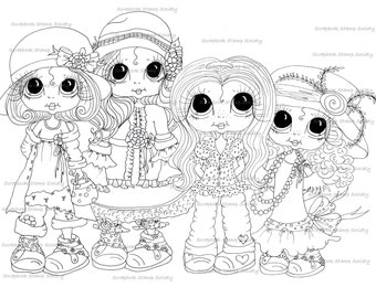 INSTANT DOWNLOAD Digital Digi Stamps Big Eyed Little Group Of Besties Big Head Dolls Digi By Sherri Baldy