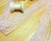 """Peach Lace trim 4 Yards, Peach Floral Lace, Floral Nylon Lace trim, 4.5cm wide, 1.75"""" wide L2-1/2/105"""