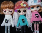 Hand Knitted Black Cat Sweater and Scarf for Blythe Dolls