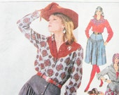 Simplicity 7601 Sewing Pattern Western Skirt  Yoked Shirt Vest Miss Size 12
