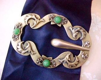Lovely Large Showy Edwardian Era Brooch with Green Cabochons