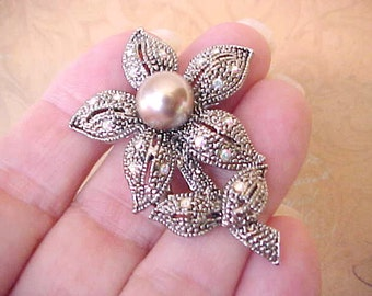 Beautiful Brooch with Rhinestones and Faux Ecru Colored Pearl