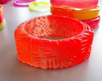 Carved Frosted Neon Orange Triangular Resin Bangle
