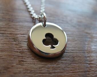 Thick clubs suit charm pendant necklace