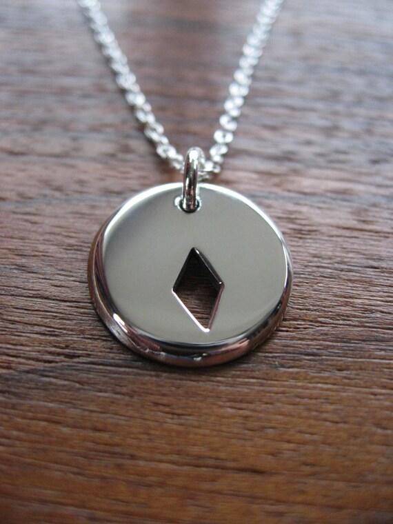 Diamonds Card Suit Silver Pendant Necklace