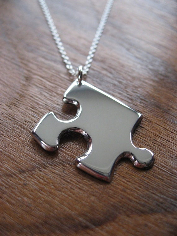 Silver Edge Jigsaw Puzzle Piece Necklace Pendant