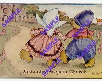 Digital Download-On Sunday We Go To Church-Vintage Postcard with Dutch kids