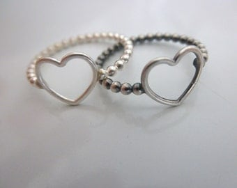 open heart ring - 925 solid sterling silver - sz 8 - valentines ring - love ring