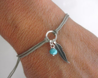 Feather friendship bracelet  and tiny turquoise