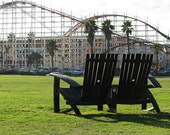 Bourbon Barrel Love Seat (black, natural oak, brown, green, stainless steel, love seat)