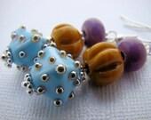 Earrings, Dangle, Lampwork, Blue, Orange, Purple, Funky, For her, Boho