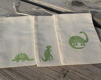 Set of 12 Hand stamped Dinosaurs Muslin Gift Favor Bags 100% organic made in america