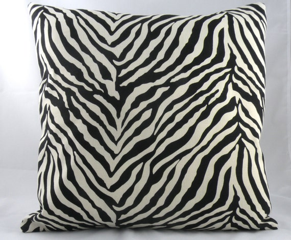 "SPECIAL PRICE -- Zebra Print Throw Pillow Covers -- 16"" x 16"" set"