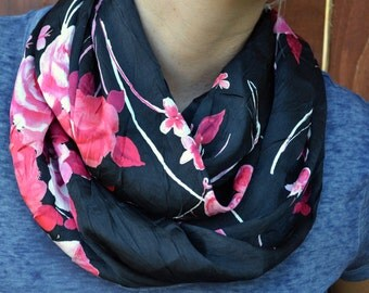 Spring infinity scarf, cowl, neck tie, summer fashion in pink and black
