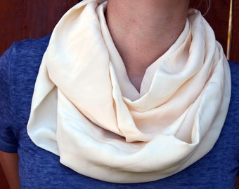 Spring infinity scarf, cowl, neck tie, summer fashion in cream