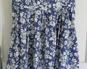 1980's Vintage Laura Ashley jumper dress . great for maternity . denim blue & white