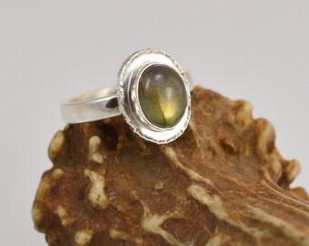 Labradorite Ring - Sterling Silver Setting - Hammer-Textured Bezel - Size 7