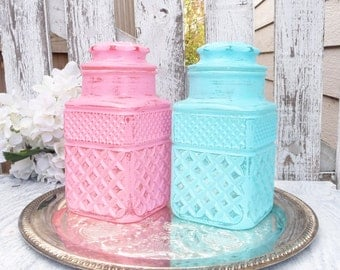 SHABBY CHIC Painted Glass Canister Jar